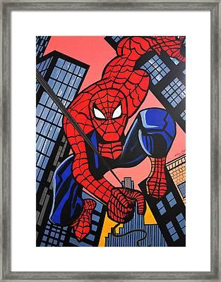 Cartoon Spiderman Framed Print