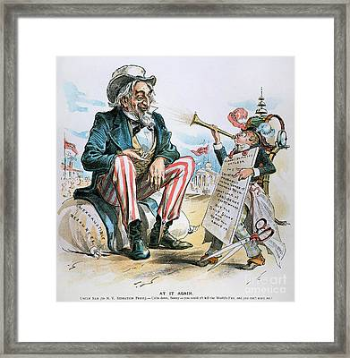 Cartoon: Uncle Sam, 1893 Framed Print