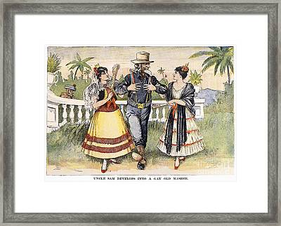 Cartoon: Uncle Sam, 1898 Framed Print by Granger