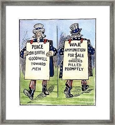 Cartoon: U.s. Neutrality Framed Print by Granger