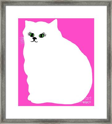 Cartoon Plump White Cat On Pink Framed Print