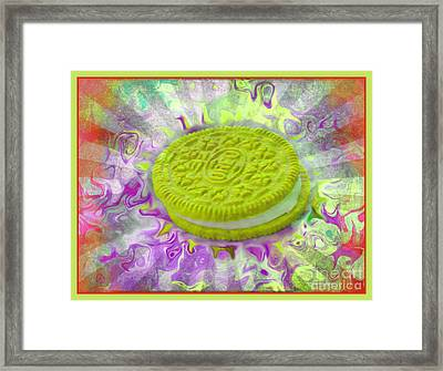 Chartreuse Oreo Cookie - Abstract Food Art Framed Print by Shelly Weingart
