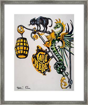 Caru Cu Bere - Antique Shop Sign Framed Print by Dora Hathazi Mendes