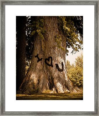 Carve I Love You In That Big White Oak Framed Print by Trish Tritz