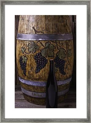 Carved Grapes On Wine Barrel Framed Print