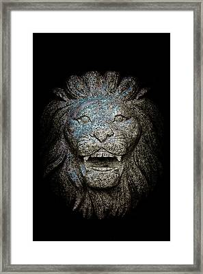 Carved Stone Lion's Head Framed Print by Loriental Photography