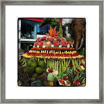 Framed Print featuring the photograph Carved Watermelon, Surin Elephant by Mr Photojimsf