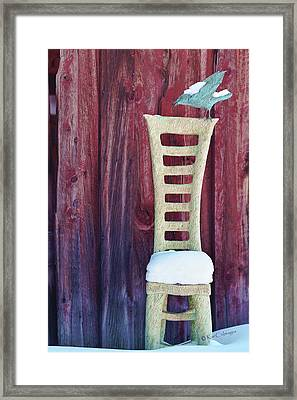 Carved Wooden Chair And Crow In Winter Framed Print