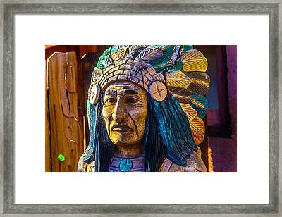 Carved Wooden Indian Framed Print by Garry Gay