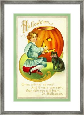 Carving A Pumpkin With Your Cat Framed Print