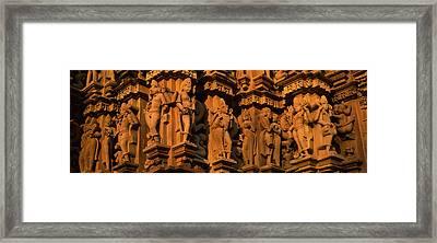 Carving Details Of A Temple, Khajuraho Framed Print