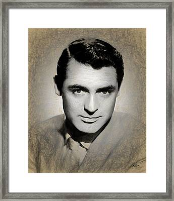 Cary Grant Draw Framed Print by Quim Abella