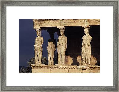 Caryatides At The Acropolis Framed Print