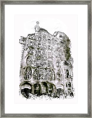 Casa Batllo Barcelona Black And White Framed Print