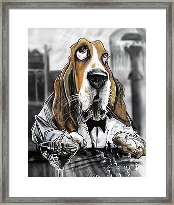 Casablanca Basset Hound Caricature Art Print Framed Print by John LaFree