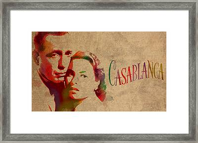Casablanca Watercolor Painting Humphrey Bogart Ingrid Bergman On Worn Distressed Canvas Framed Print by Design Turnpike