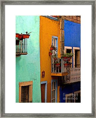 Casas In Mint Terracotta And Blue Framed Print