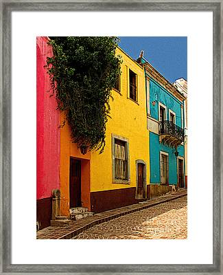 Casas In Pink Orange Yellow Blue Framed Print by Mexicolors Art Photography