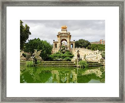 Cascada Fountain At Park De La Ciutadella Framed Print by Amy Williams