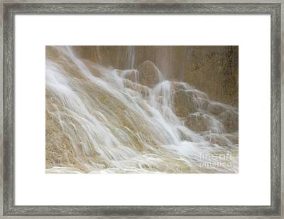 Cascade By The Limestone Pools In Huanglong Framed Print by Julia Hiebaum