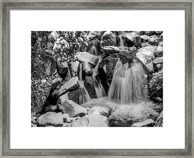 Cascade Creek In Black And White Framed Print
