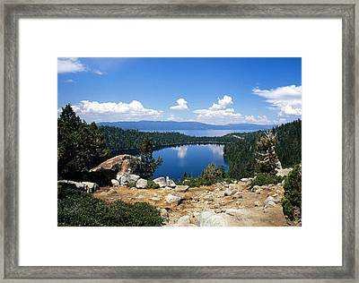 Cascade Lake And Lake Tahoe Framed Print by Troy Montemayor
