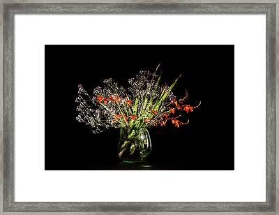 Cascade Of White And Orange. Framed Print