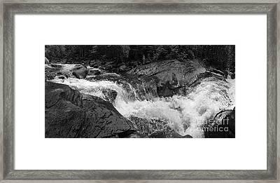 Cascade Stream Gorge, Rangeley, Maine  -70756-70771-pano-bw Framed Print