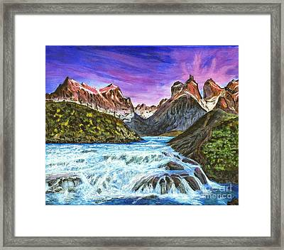 Cascades In Patagonia Painting Framed Print by Timothy Hacker