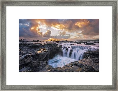 Cascades Of Kauai Framed Print by Todd Kawasaki