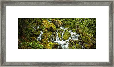 Cascadiing Water Panorama Framed Print