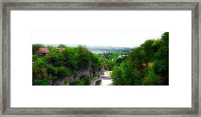 Cascadilla Gorge Cornell University Ithaca New York Panorama Framed Print by Thomas Woolworth
