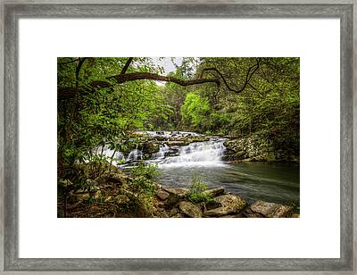 Cascading In The Forest Framed Print by Debra and Dave Vanderlaan