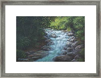 Framed Print featuring the painting Cascading Stream by Kim Lockman