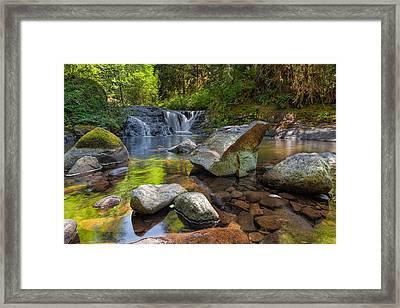 Cascading Waterfall At Sweet Creek Falls Trail Framed Print by David Gn
