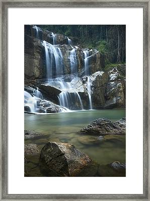 Cascading Waterfalls Framed Print by Ng Hock How