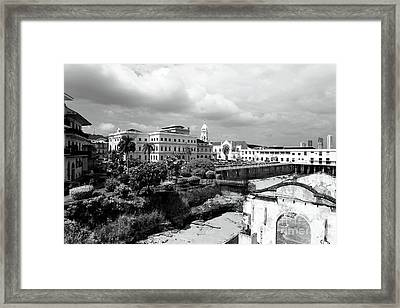 Casco Viejo In Black And White Framed Print by John Rizzuto
