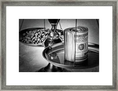 Cash Versus Gold Framed Print