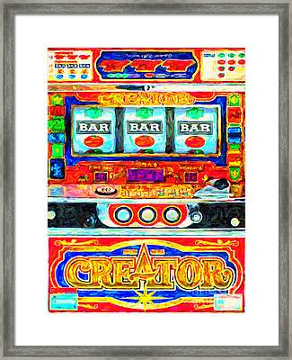 Casino Slot Machine . One Arm Bandit . Triple Bar Bonus Jack Pot Framed Print by Wingsdomain Art and Photography
