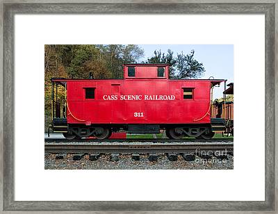 Cass Red Caboose Framed Print by Jerry Fornarotto