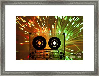 Cassette Tape And Multicolored Lights Framed Print