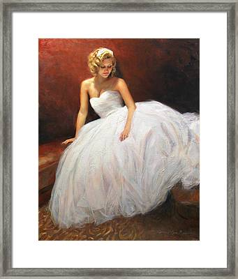 Cassie On Her Wedding Day Framed Print by Anna Rose Bain