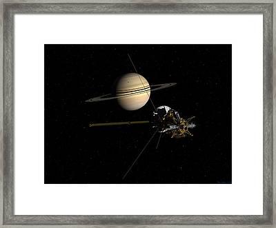 Cassini Closing In On Saturn Framed Print