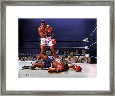 Cassius Clay Vs Sonny Liston Framed Print by Reggie Duffie