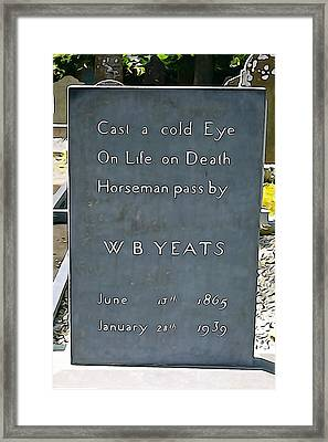 Cast A Cold Eye Framed Print