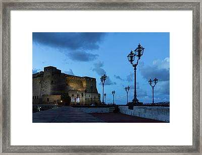 Castel Dell Ovo - Blue Hour At The Fabulous Seaside Castle In Naples Italy Framed Print