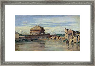 Castel Sant Angelo And The River Tiber Framed Print by Jean Baptiste Camille Corot