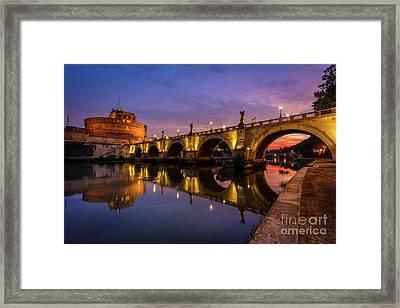 Castel Sant Angelo And The Tiber Framed Print by Inge Johnsson
