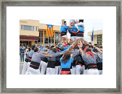 Casteller Catalan Human Tower Spain Framed Print by Jane Linders