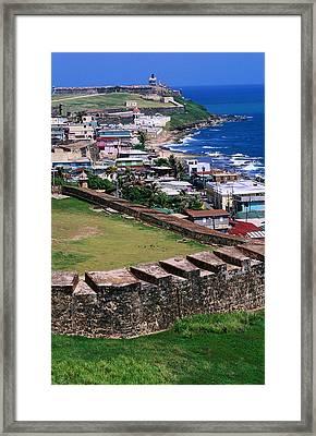 Castillo San Felipe Del Morro Overlooking Coastline, San Juan, Puerto Rico Framed Print by John Elk III